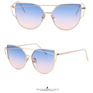 Accessories - Cat Eye Mirrored Sunglasses Oversized Pink Blue